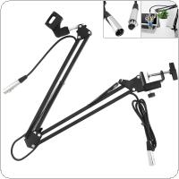 "CY-35 Metal Adjustable 31.5""/80cm Studio Recording Microphone Arm Stand with Microphone Clip + Table Mounting Clamp + 2.5m Audio Cable"