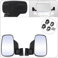 "2pcs 19.2CM Black UTV Side Mirror with 1.75"" and 2"" Mounts Shock-Proof Rubber Pad Universal for UTV General Model"