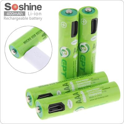 Soshine 4pcs 400mAh NiMH AAA Rechargeable Battery with Built-in Micro USB Port 2 Ways to Charge for Wireless Mouse / Game Handle / Alarm / Clock / Toy