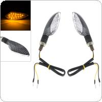 2pcs 12V Snake Skin Pattern 16LED Yellow Light Flash Direction Signal Light for Motorcycle Universal