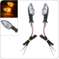 2pcs 12V Transparent Type Amber Yellow Flashing Turn Signal Light for Motorcycle Universal
