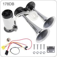 12V 178dB Super Loud Dual Tone Air Horn Set Trumpet Compressor with Wires and Relay for Motorcycle Car Boat Truck