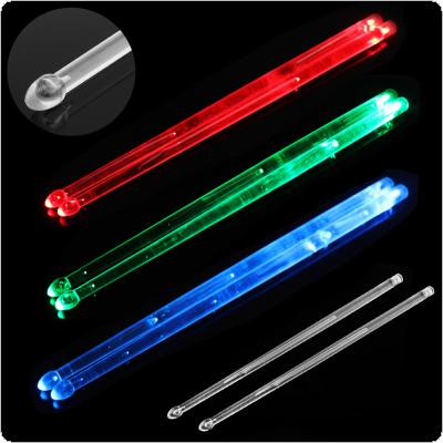 5A LED Polymer Material  Drum Stick Noctilucent Glow in The Dark Stage Performance Luminous Jazz Drumsticks Red Green Blue 3 Colors Optional