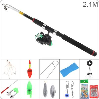 2.1m Fishing Rod Reel Line Combo Full Kits Spinning Reel Pole Set with Fishing Float Hooks Beads Bell Lead Weight Etc