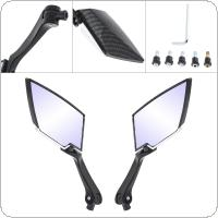 2pcs 25CM Black Diamond Shaped Aluminum Alloy Motorcycle Rearview Mirror for Street Car / Scooter