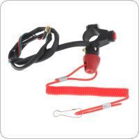 22MM Universal Plastic Motorcycle Emergency Power Off Dual Flameout Trainer Switch with Red Lanyard for Binding ATV 49 CC Motorcycle
