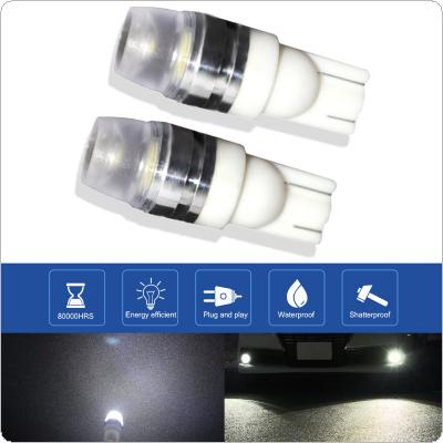 2pcs T10 12V 2W 6000K White Highlighting LED Ceramic Concave Lens SMD Decoded Width Lamp Automobile Broadband Light Bulbs