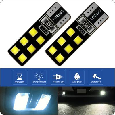 2pcs T10 12V 4W  6000K Highlighting LED 12SMD Decoded Width Lamp Automobile Broadband Light Bulbs