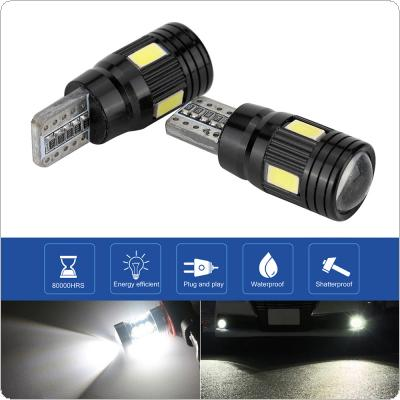 2pcs T10 12V 4W  6000K 6 Lamp Beads Black Highlighting LED SMD Decoded Width Lamp Automobile Broadband Light Bulbs