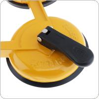 TL-F11 Yellow Aluminum Alloy Triple Claw Sucker Vacuum Suction Cup with Rubber Suction Pad and ABS Plastic Handles for Tiles Glass Lightweight Locking Device