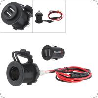 Black 12V Waterproof Cigarette Lighter GPS Socket Dual USB Car Charger Mobile Phone Charger for Car / Motorcycle Universal