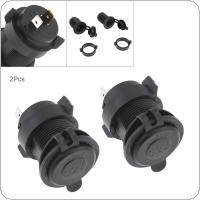 2pcs Black 12V Waterproof Cigarette Lighter Socket Connector Adapter Charger for Car / Motorcycle Universal