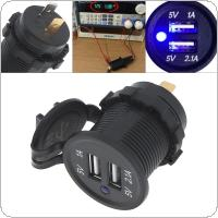 Black 12V Waterproof Dual USB Car Charger for Car / Motorcycle Universal