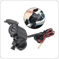 Black 12V Dual USB Faucet Car Phone Charger for Motorcycle Universal