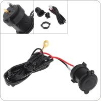 Black 12V Waterproof Cigarette Lighter GPS Charging Connector with Insurance Line for Car / Motorcycle Universal