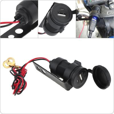 Black 12V Waterproof Cigarette Lighter USB Car Charger Mobile Phone Charger for Car / Motorcycle Universal