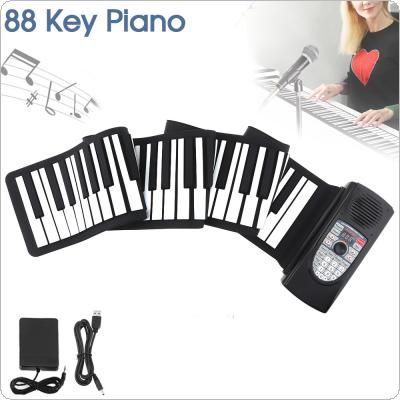 88 Keys USB MIDI Roll Up Piano Rechargeable Electronic Portable Silicone Flexible Keyboard Organ Built-in Speaker Support Bluetooth Connection