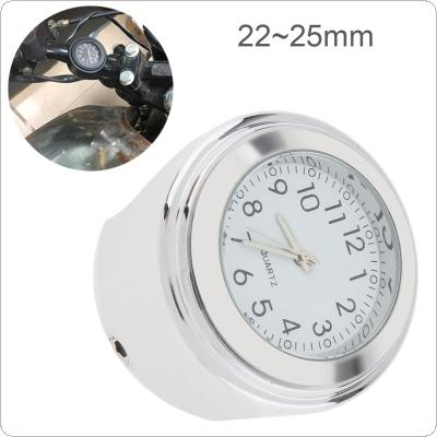 Motorcycle Clock Meter 22MM to 25MM Silver Metal Case Handlebar Timepiece Thermometer for Motorcycle / Bike / Electric Vehicle