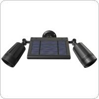 18650 3.7V 2000mAh 600LM 76LED Solar Double Spotlight 360° Rotating Solar Power PIR Motion Sensor Wall Light with ABS + PC for Outdoors / Courtyard / Garden