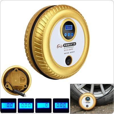12V 60W Portable Car Digital Display Multifunctional Electric Inflating Pump Support Preset Tire Pressure with Blue Backlight for SUV / Sedan / MPV