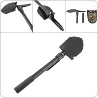 Black High Carbon Steel Multifunctional Camping Folding Shovel for Outdoor Activities