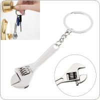 Silver Zinc Alloy Portable Mini Adjustable Wrench Keychain with Chain Decoration for Removing Small Parts
