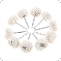10pcs/set White Rotary Tool Wool Wheel Polishing Head with 3mm Diameter Shank for Polishing Jewelry and Precious Metals