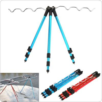 Aluminum Alloy Telescopic 7 Groove Fishing Rod Holder Collapsible Tripod Stand Sea Fishing Pole Bracket Blue Red Optional
