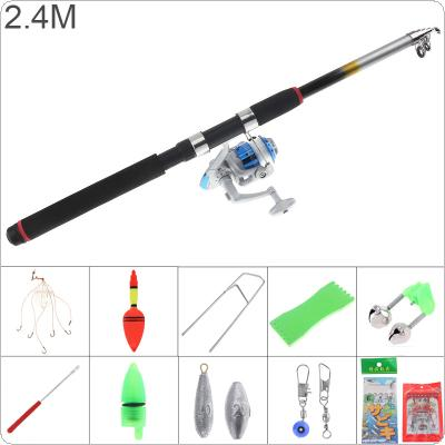 2.4m Fishing Rod Reel Line Combo Full Kits 3000 Series Spinning Reel Pole Set with Fishing Float Hooks Beads Bell Lead Weight Etc