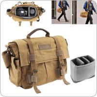 Vintage SLR Photo Camera Single Shoulder Bag Photo Video Soft Canvas Pack Bag Travel Camera Protective Case for Canon / Nikon / Sony / Pentax
