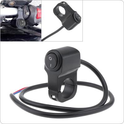 7/8'' 22MM Black 12V 2 Lines Aluminum Alloy Handlebar LED Headlights Retro Switch for Motorcycle Universal