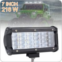 7 Inch 216W 21600LM Quad Row Off Road Combo LED Light Bar Driving Fog Lamps for Jeep / SUV / ATV / UTV / Truck / Boat