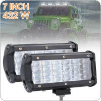 2pcs 7 Inch 432W 43200LM Quad Row Off Road Combo LED Light Bar Driving Fog Lamps for Jeep / SUV / ATV / UTV / Truck / Boat
