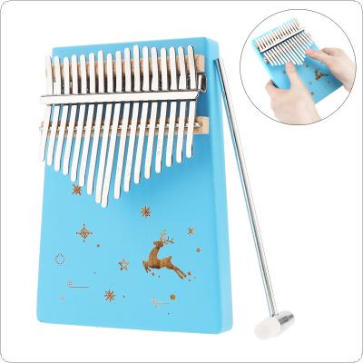 17 Keys Thumb Piano Kalimba Blue Reindeer Snow Pattern Solid Single Board Pine Mbira Mini Keyboard Instrument