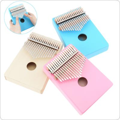 17 Key Thumb Piano Kalimba Single Board Pine Mbira Mini Keyboard Instrument Pink Blue Wood Optional
