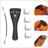 3/4 4/4 Violin Parts Kit with Ebony Tailpiece + Tail Rope + 4pcs Fine Tuning