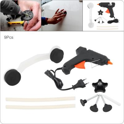 9pcs 220V Universal Plastic + Aluminum Alloy Bridge type Car Door Body Pulling Paintless Reparation Device Removal Tool Kit with Glue Gun and Rubber Strip