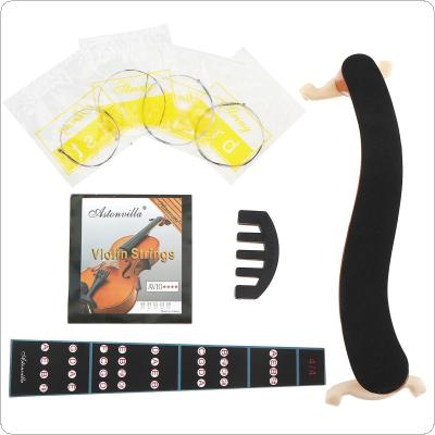 3/4 & 4/4 Violin Accessories kit with Shoulder Rest Fingerboard Sticker Strings and Mute
