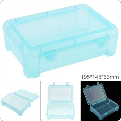 7.8 Inch Transparent Blue PP Plastic Portable Multifunctional Sample Tool Box Storage Box with 195mm Length and 145mm Width for Hardware Accessories