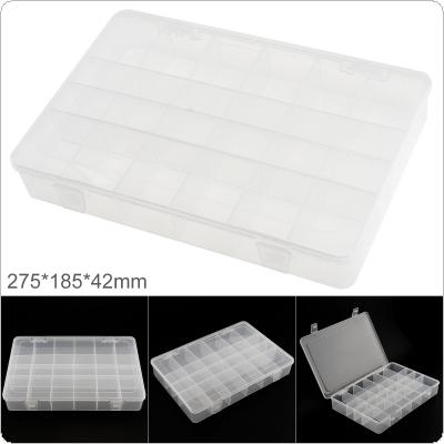 11 Inch 24 Grid Transparent White PP Plastic Portable Multifunctional Parts Storage Tool Box with 275mm Length and 185mm Width for Hardware Accessories