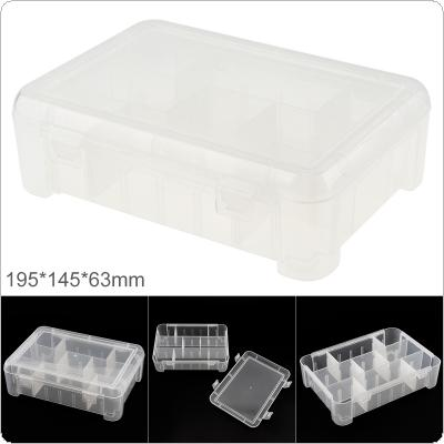 7.8 Inch 9 Grid Transparent White PP Plastic Portable Multifunctional Parts Storage Tool Box with 195mm Length and 145mm Width for Hardware Accessories