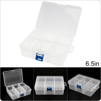 6.5 Inch 6 Grid Transparent White PP Plastic Portable Multifunctional Parts Storage Tool Box with 165mm Length and 114mm Width for Hardware Accessories