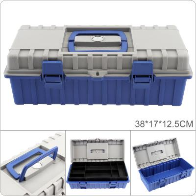 15 Inch ABS Portable Multifunctional Thickened Double-layer Tool Storage Box with 380mm Length and 170mm Width for Vehicle Hardware Tools