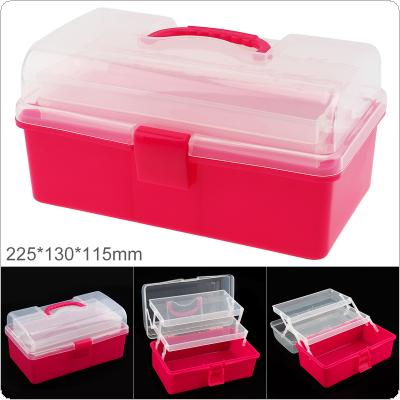 9 Inch PP Plastic Portable Multifunctional Handheld Three-layer Tool Storage Box with 225mm Length and 130mm Width for Hardware Accessories