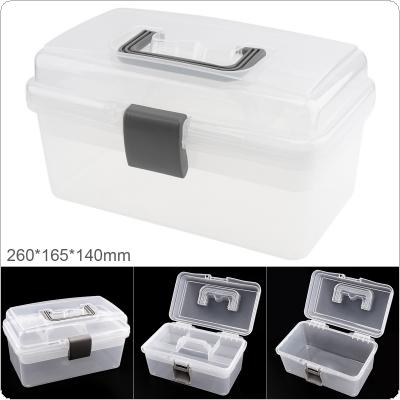 10 Inch Transparent White PP Plastic Multifunctional Double-layer Storage Tool Box with 260mm Length and 165mm Width for Hardware Accessories
