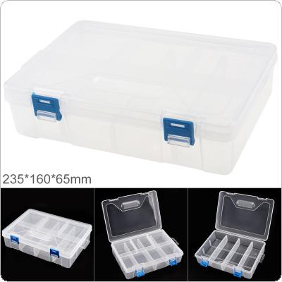 9 Inch Transparent White PP Plastic Portable Multifunctional Double-layer Storage Tool Box with 235mm Length and 160mm Width for Hardware Accessories