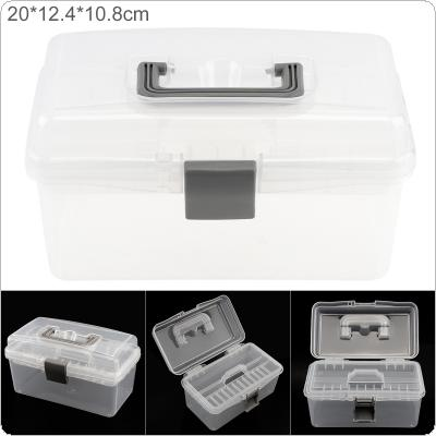 8 Inch Transparent White PP Plastic Portable Multifunctional Double-layer Storage Tool Box with 200mm Length and 124mm Width for Hardware Accessories