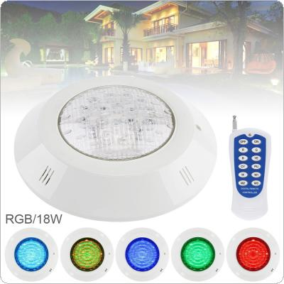 18 LED 12V 18W RGB 3000K Remote Control Wall-mounted Waterproof Light Underwater Multi-Color Light for Swimming Pool / Outdoor