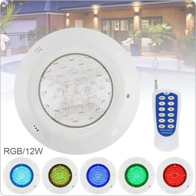12 LED 12V 12W RGB 3000K Remote Control Wall-mounted Waterproof Light Underwater Multi-Color Light for Swimming Pool / Outdoor