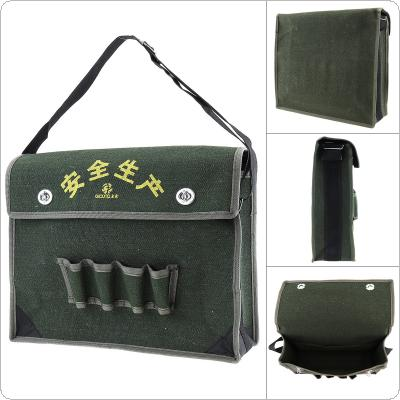15.5 Inch 600D Oxford Cloth Waterproof Flip-type Single-shoulder Tool Bag with 4 Holes 2 Pockets and Adjustable Single Hanging Strap for Maintenance Tools